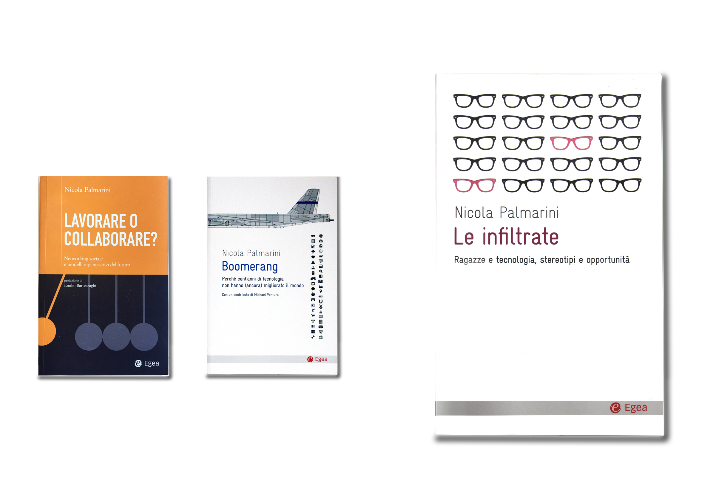 Three book covers:Lavorare o collaborare, boomerang, le infiltrate