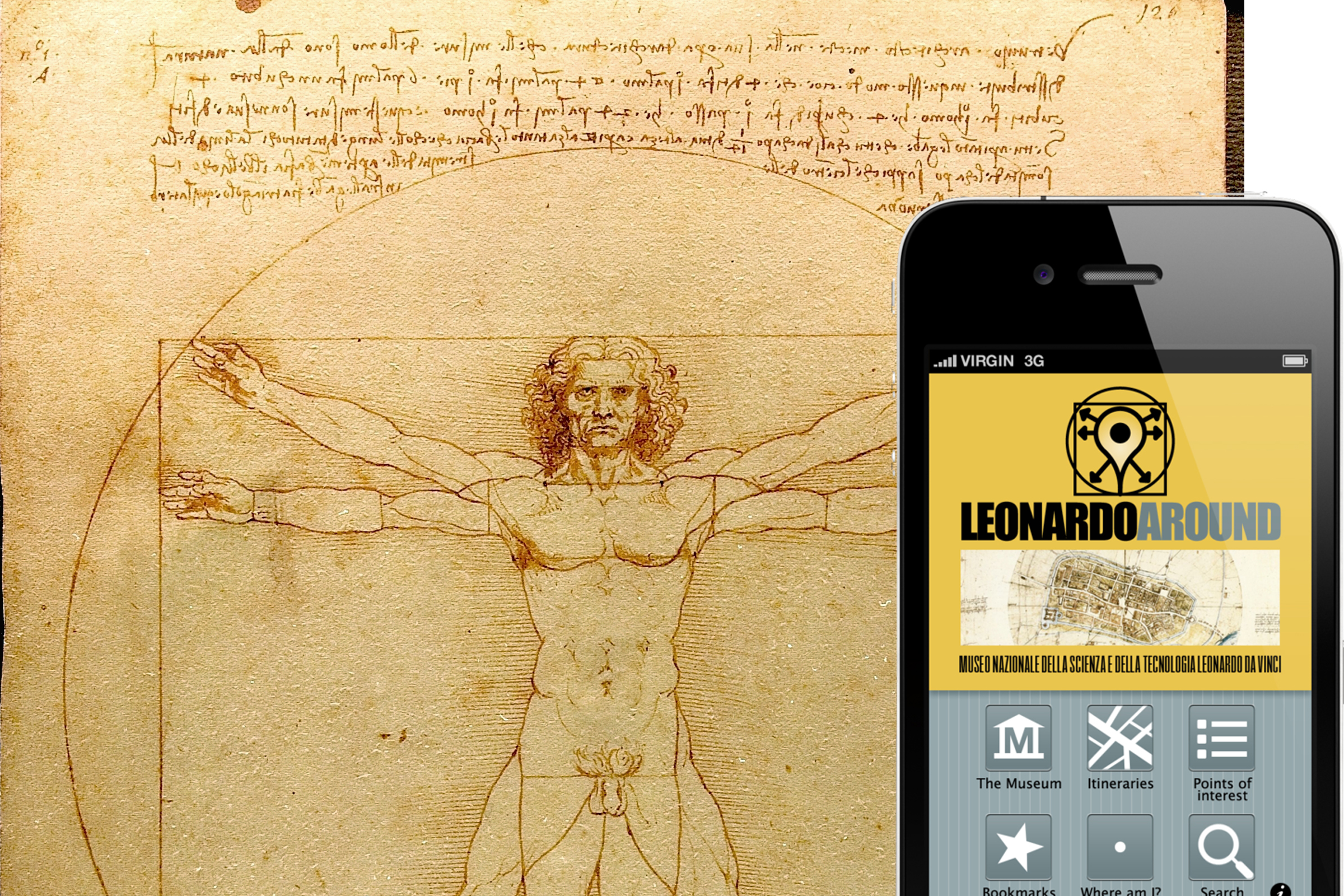 The Vitruvian man and the Leonoardoaroundapp